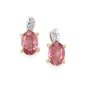 Sakaraha Pink Sapphire Earrings with Diamond in 10K Gold 1.20cts
