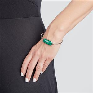 Malachite Bar Bangle in Sterling Silver 23.88cts