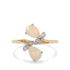 Ethiopian Opal Ring with Diamond in 10K Gold 0.89ct