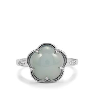 Aqua Chalcedony Ring with White Topaz in Sterling Silver 4.49cts