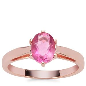 Natural Pink Fluorite Ring in Rose Gold Plated Sterling Silver 1.50cts