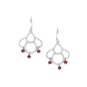 Malagasy Ruby Earrings in Sterling Silver 1.92cts (F)