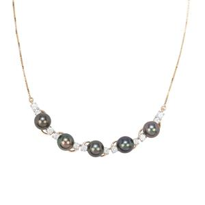 Tahitian Cultured Pearl Necklace with White Zircon in 9K Gold (8mm)