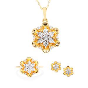 1/4ct Diamond Midas Set of Earrings, Ring & Pendant Necklace