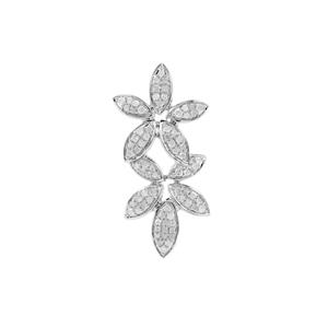 Diamond Floral Pendant in Sterling Silver 0.50ct