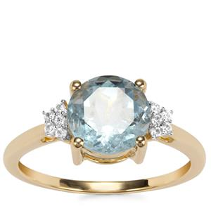 Mozambique Aquamarine Ring with White Zircon in 9K Gold 1.76cts