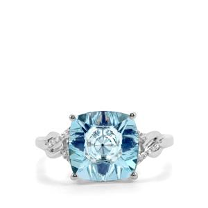 Lehrer KaleidosCut Sky Blue Topaz, Ceylon Sapphire Ring with Diamond in 10K White Gold 4.06cts