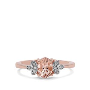 Zambezia Morganite Ring with White Zircon in Rose Gold Plated Sterling Silver 0.81ct