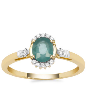 Grandidierite Ring with White Zircon in 9K Gold  0.70cts