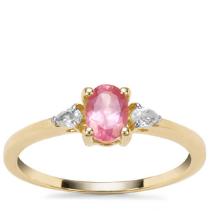 Mozambique Pink Spinel Ring with White Zircon in 9K Gold 0.82ct