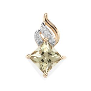 Csarite® Pendant with Diamond in 10k Gold 1.33cts