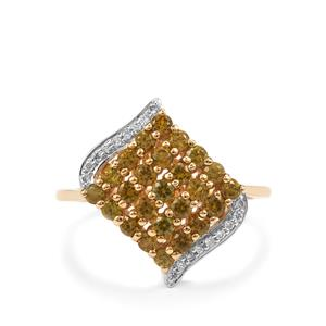 Apache Demantoid Garnet Ring with Diamond in 18K Gold 1.29cts