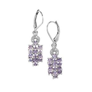 Tanzanite & White Topaz Sterling Silver Earrings ATGW 3.25cts