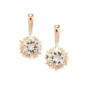 Wobito Snowflake Cut Itinga Petalite Earrings with Diamond in 10K Rose Gold 3.77cts