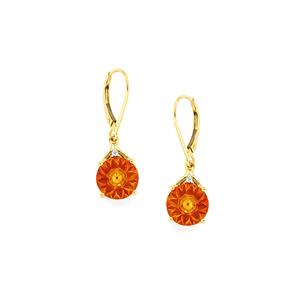 Rio Golden Citrine, Madagascn Ruby Earrings with Diamond in 9K Gold 5.97cts (F)