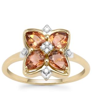 Sopa Andalusite Ring with Diamond in 9K Gold 1.27cts