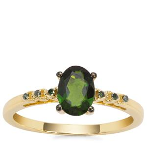 Chrome Diopside Ring with Green Diamond in 9K Gold 0.85ct