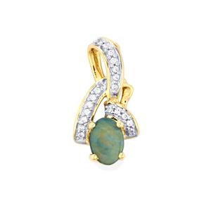 Crystal Opal on Ironstone Pendant with White Zircon in 9K Gold