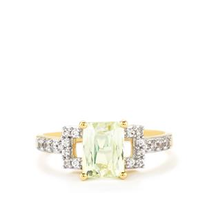 Green Kunzite Ring with White Zircon in 10k Gold 1.92cts