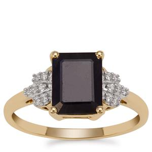 Ethiopian Sapphire Ring with White Zircon in 9K Gold 2.83cts