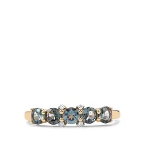 Mahenge Blue Spinel Ring with Diamond in 9K Gold 0.95ct