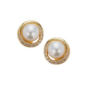 Kaori Cultured Pearl Earrings with White Topaz in Gold Plated Sterling Silver