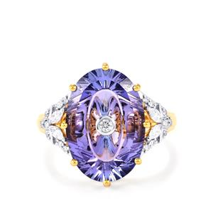 Lehrer TorusRing AA Tanzanite Ring with Diamond in 18K Gold 7.20cts