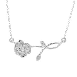 1/10ct Diamond Sterling Silver Rose Necklace