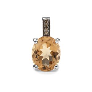 Bolivian Natural Champagne Quartz Pendant with Champagne Diamond in Sterling Silver 2.97cts