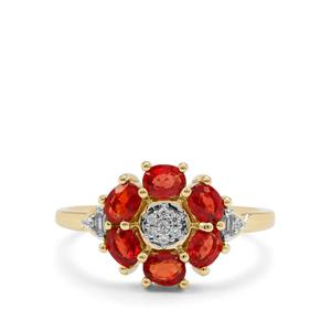 Songea Ruby & White Zircon 9K Gold Ring ATGW 1.53cts
