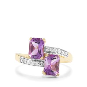 Moroccan Amethyst & White Zircon 9K Gold Ring ATGW 2cts