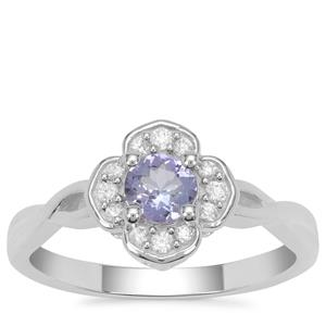 Tanzanite Ring with White Zircon in Sterling Silver 0.65ct