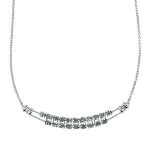 Umba Sapphire & White Zircon Sterling Silver Necklace ATGW 5.54cts