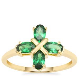 Tsavorite Garnet Ring in 9K Gold 1cts