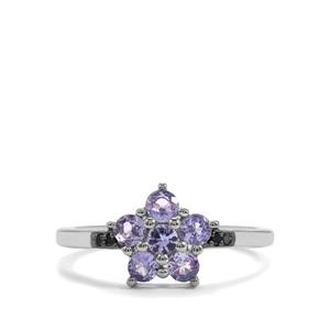 Tanzanite & Blue Diamond Sterling Silver Ring ATGW 0.74cts
