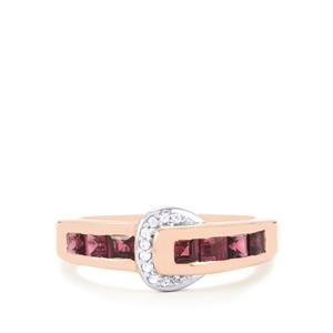 Rajasthan Garnet Ring with White Zircon in Rose Gold Plated Sterling Silver 1.53cts