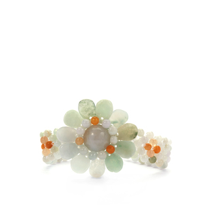 'Colours of Paradise' Jadeite Bracelet in Sterling Silver 121cts