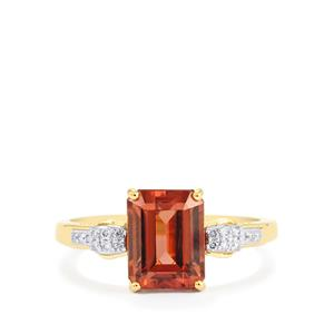 Zanzibar Zircon Ring with Diamond in 14K Gold 3.79cts