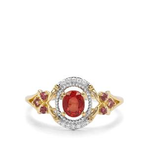 Songea Ruby, Pink Tourmaline & White Zircon 9K Gold Ring ATGW 0.89ct