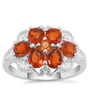 Loliondo Orange Kyanite Ring with White Zircon in Sterling Silver 2.69cts