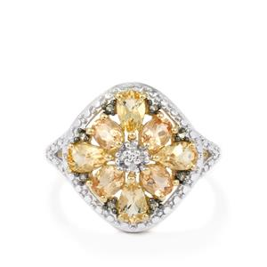 Ourp Preto Imperial Topaz, Champagne Diamond Ring with White Diamond in 9K Gold 1.84cts