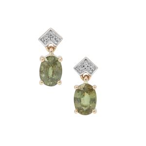 Green Dragon Demantoid Garnet Earrings with White Zircon in 9K Gold 2.05cts
