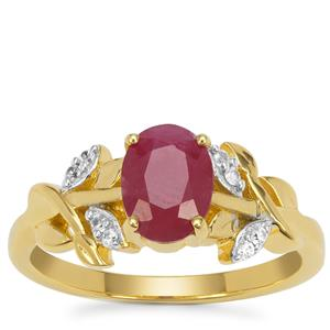 John Saul Ruby Ring with White Zircon in Gold Plated Sterling Silver 1.85cts