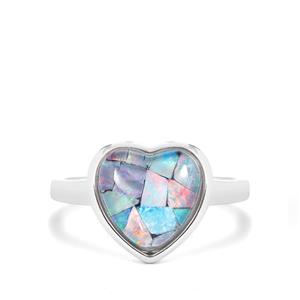 Mosaic Opal Heart Ring in Sterling Silver