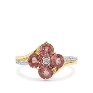 Rosé Apatite Ring with White Zircon in 9K Gold 2.38cts