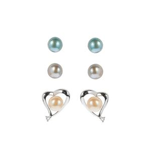 Kaori Cultured Pearl Set of 3 Interchangeable Earrings with White Topaz in Sterling Silver (7mm)