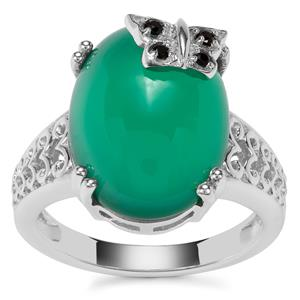 Verde Onyx Butterfly Ring with Black Spinel in Sterling Silver 9.81cts