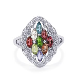 Kaleidoscope Gemstones Ring in Sterling Silver 1.56cts