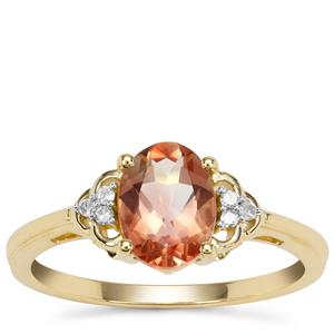 Peach Parti Oregon Sunstone Ring with Diamond in 9K Gold 1.16cts