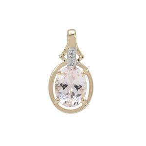 Rose Danburite Pendant with White Zircon in 9K Gold 1.80cts